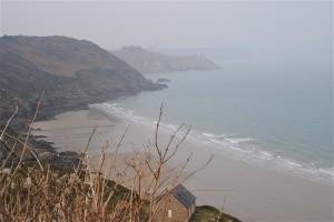 Du haut des falaises, la plage Bonaparte.