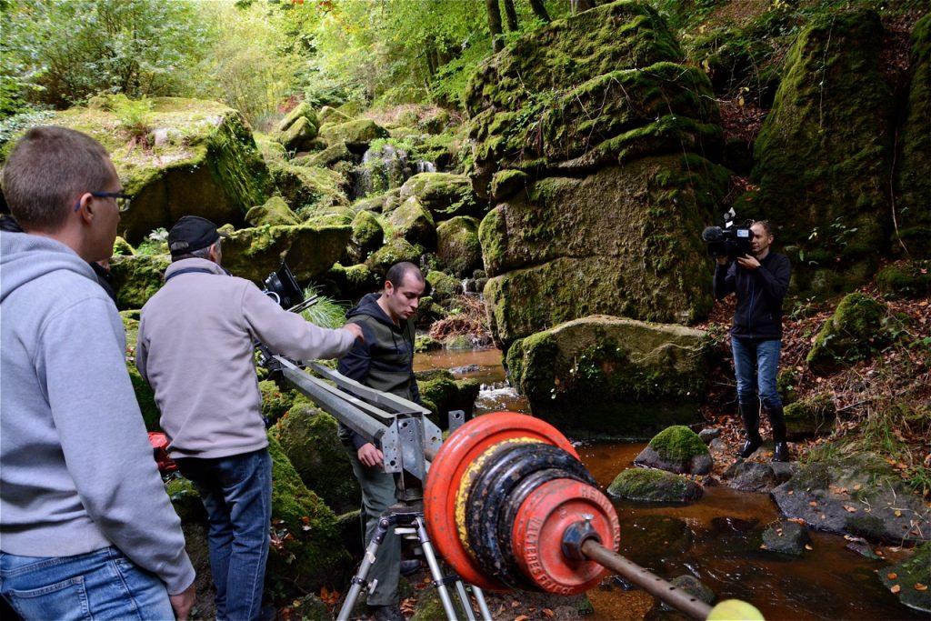L'équipe de tournage de FR3 en pleine action.